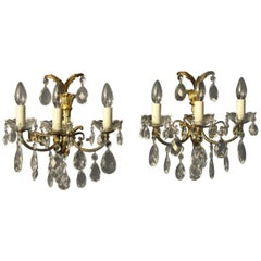 French Pair of Gilt and Crystal Antique Wall Lights