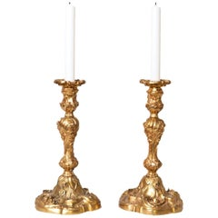French Pair of Gilt Bronze Louis XV Style Candlesticks Decorated with Flowers