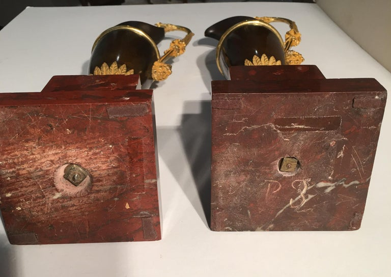 French Pair of Jars in Gilded and Patinated Bronze on a Marble Base Red Campan For Sale 5