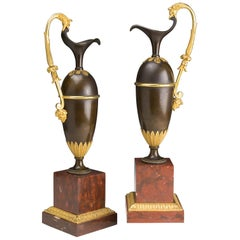 French Pair of Jars in Gilded and Patinated Bronze on a Marble Base Red Campan