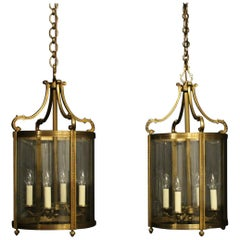 French Pair Of Large Gilded Bronze Convex Antique Hall Lanterns