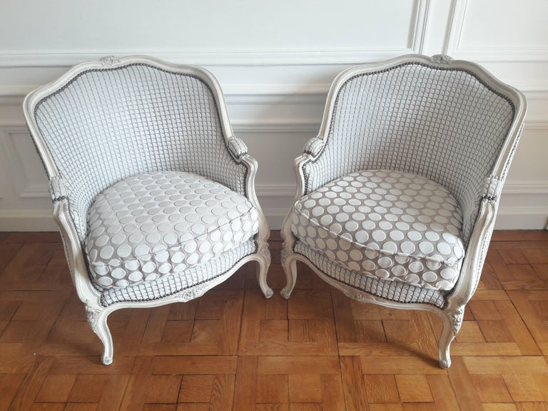 French Pair of Louis XV Bergère Napoléon III Period In Good Condition For Sale In Paris, FR