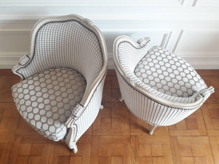 19th Century French Pair of Louis XV Bergère Napoléon III Period For Sale