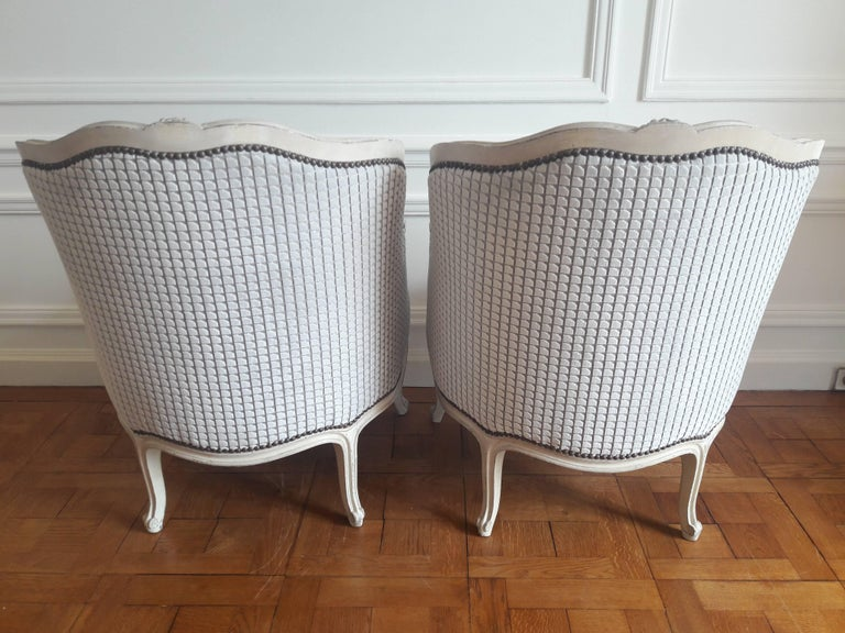 Fabric French Pair of Louis XV Bergère Napoléon III Period For Sale