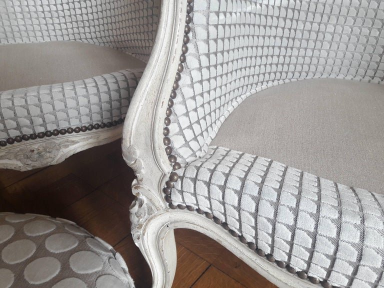 French Pair of Louis XV Bergère Napoléon III Period For Sale 3