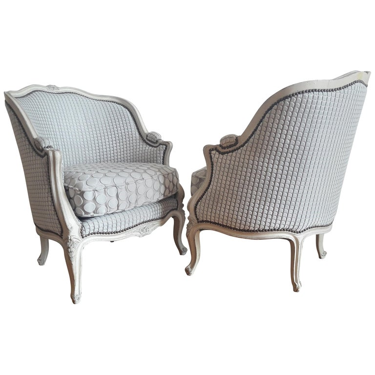 French Pair of Louis XV Bergère Napoléon III Period For Sale