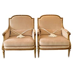 French Pair of Louis XVI Style Marquise Bergere Giltwood Armchairs