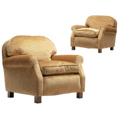 French Pair of Lounge Chairs in Beige Velvet