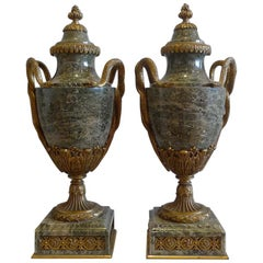 French Pair of Marble and Ormolu Lidded Urns Stamped