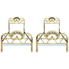 French Pair of Midcentury Gold Brass and Bronze Twin Size Headboards