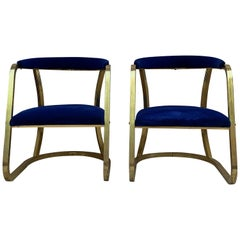 French Pair of Midcentury Gold Brass Chairs with Blue Velvet Upholstery