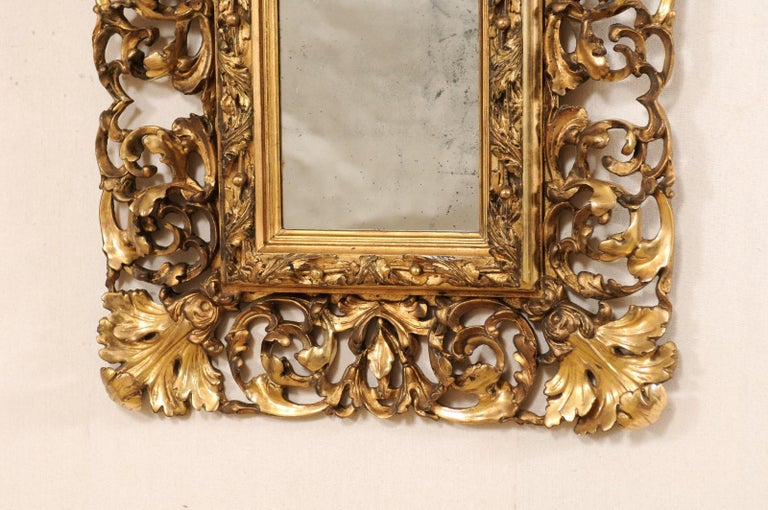 Pair of Ornately Pierce-Carved and Giltwood Rococo Mirrors, Early 19th Century In Good Condition For Sale In Atlanta, GA