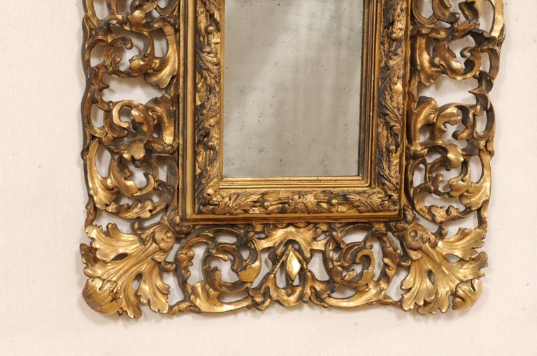 Pair of Ornately Pierce-Carved and Giltwood Rococo Mirrors, Early 19th Century For Sale 1