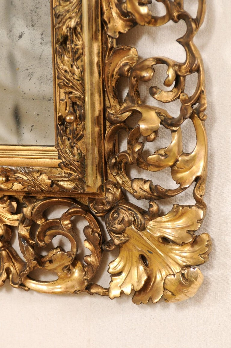 Pair of Ornately Pierce-Carved and Giltwood Rococo Mirrors, Early 19th Century For Sale 2