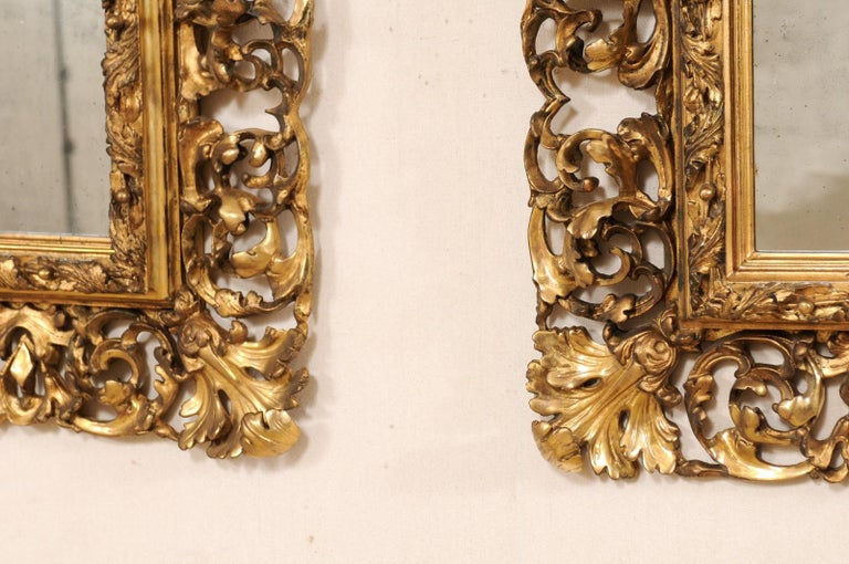 Pair of Ornately Pierce-Carved and Giltwood Rococo Mirrors, Early 19th Century For Sale 3