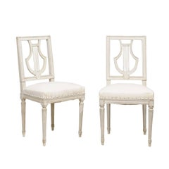French Pair of Painted Dining Chairs with Lyre-Shaped Backs, Early 20th Century
