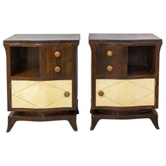French Pair of Parchment Nightstands Side Cabinets Bedside Tables, circa 1940