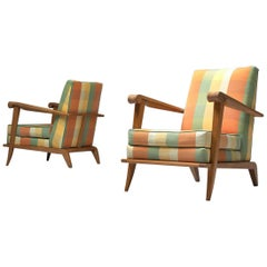 French Pair of Sculptural Lounge Chairs in Oak and Fabric