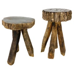 French Pair of Side Tables or Nightstands Bedside Tables, Brutalist circa 1960