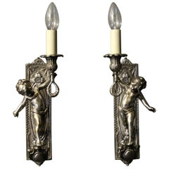 French Pair of Silver Gilded Bronze Cherubs Wall Lights