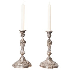 French, Pair of Silvered Bronze Louis XV Style Candlesticks