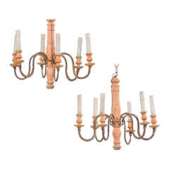 French Pair of Six-Light Wood Column Chandeliers with Iron Arms, Wired for US