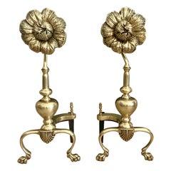 French Pair of Sunflower Midcentury Brass Andirons