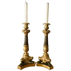 French Pair of Tall Bronze Neoclassical Empire Style Candlesticks