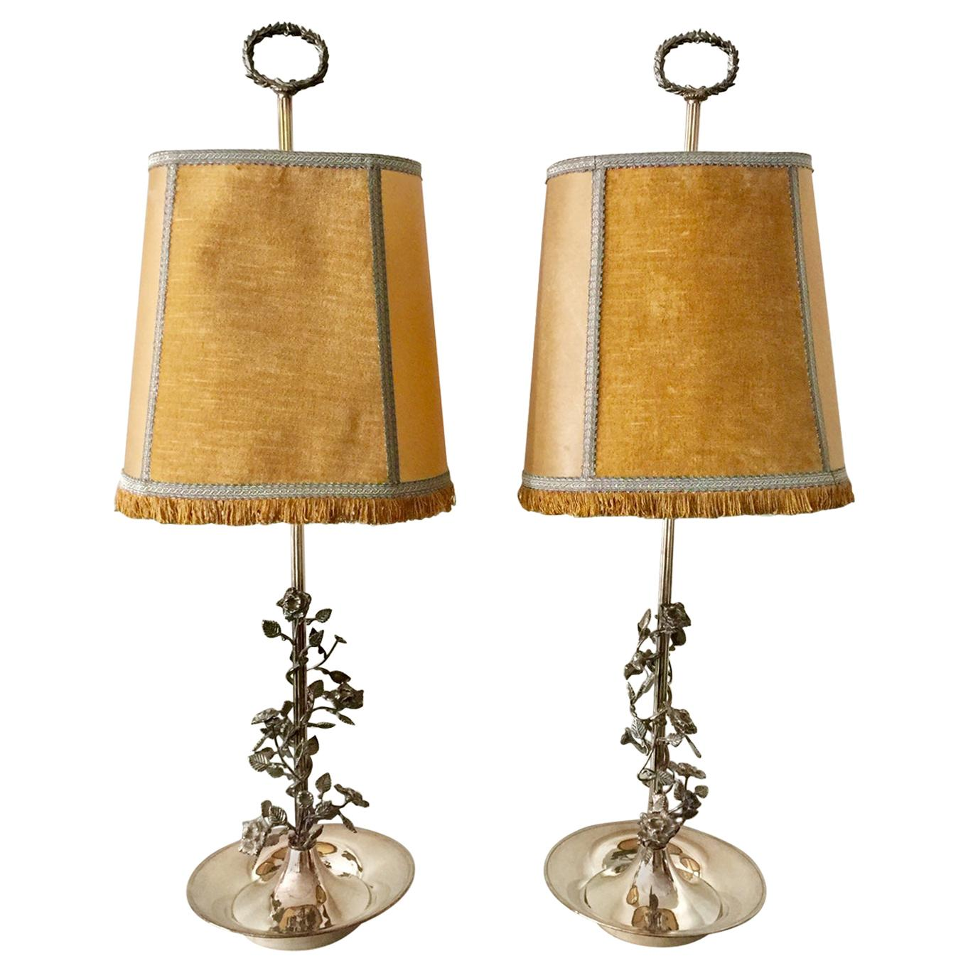French Pair of Tall Silvered Bouillotte Lamps from Aix-en-Provence