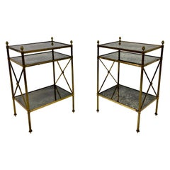 French Pair of Three Tier Brass and Églomisé Side Tables or Étagères