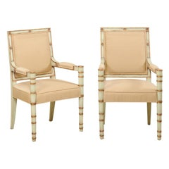 French Pair of Vintage Accent Chairs with Neoclassical Design Influences