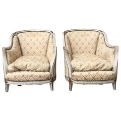 French Pair of White Painted Rococo Bergère Armchairs