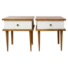 French Pair of White Skai Nightstands Side Cabinets Bedside Tables, circa 1960