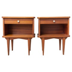 French Pair of Wood Nightstands Side Cabinets Bedside Tables, circa 1960