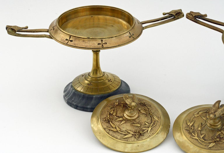 French Pair of Ormolu Bronze Twin Handled and Marble Mounted Lidded Tazzas For Sale 6
