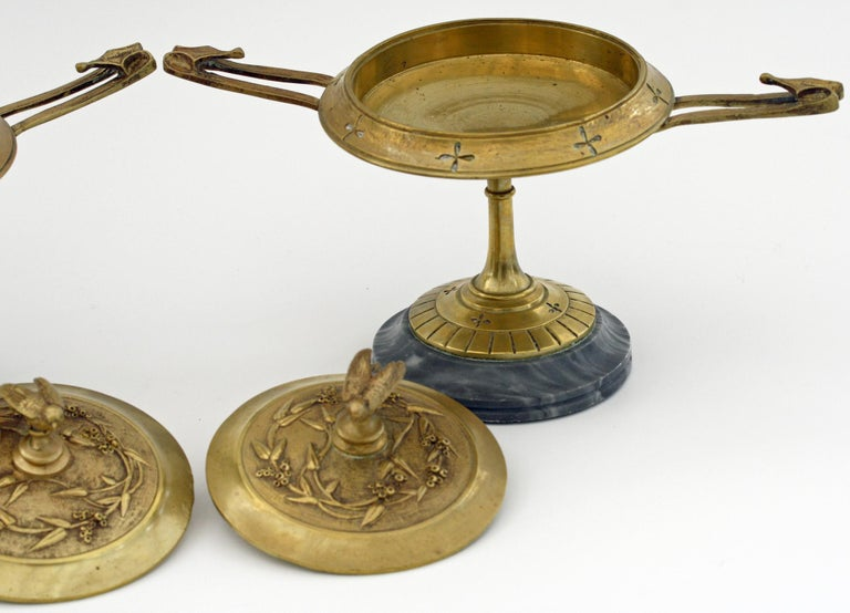 French Pair of Ormolu Bronze Twin Handled and Marble Mounted Lidded Tazzas For Sale 10