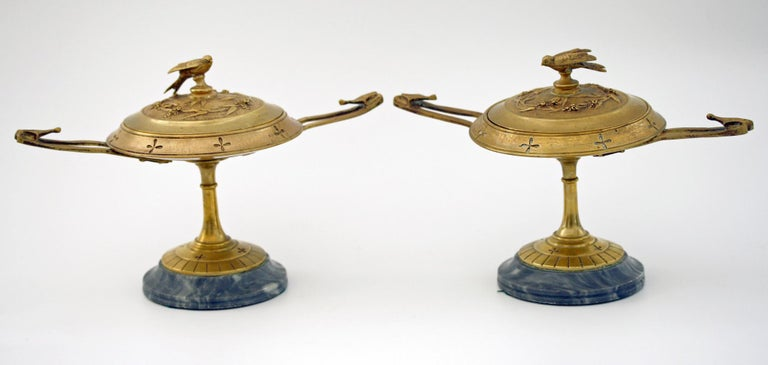 French Pair of Ormolu Bronze Twin Handled and Marble Mounted Lidded Tazzas For Sale 11
