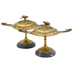 French Pair of Ormolu Bronze Twin Handled and Marble Mounted Lidded Tazzas