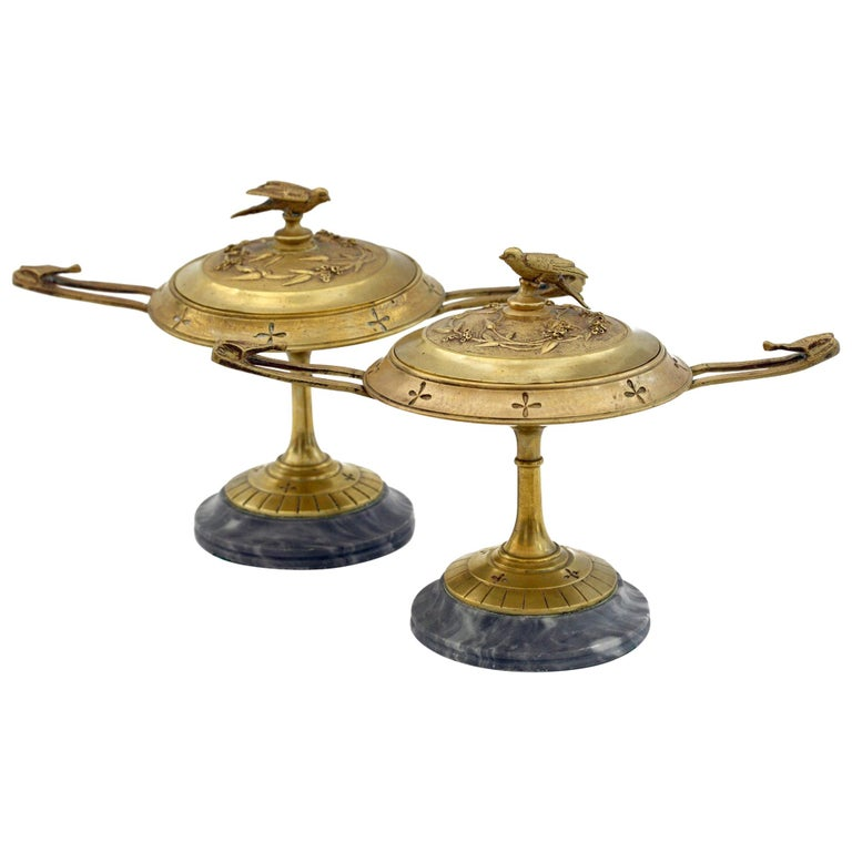 French Pair of Ormolu Bronze Twin Handled and Marble Mounted Lidded Tazzas For Sale