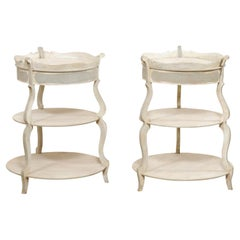 French Pair Round-Shaped Tiered Gueridon Tables w/ Pie Crust Top & Single Drawer