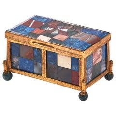 French Palais Royale Geometric Specimen Agate Box, circa 1860