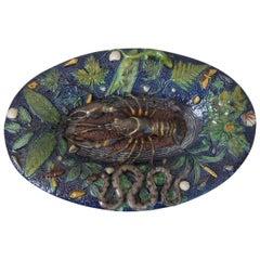 French Palissy Majolica Crayfish, Snake & Lizard Platter