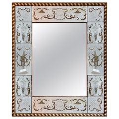 French Panelled Venetian Themed Gilt Églomisé Mirror