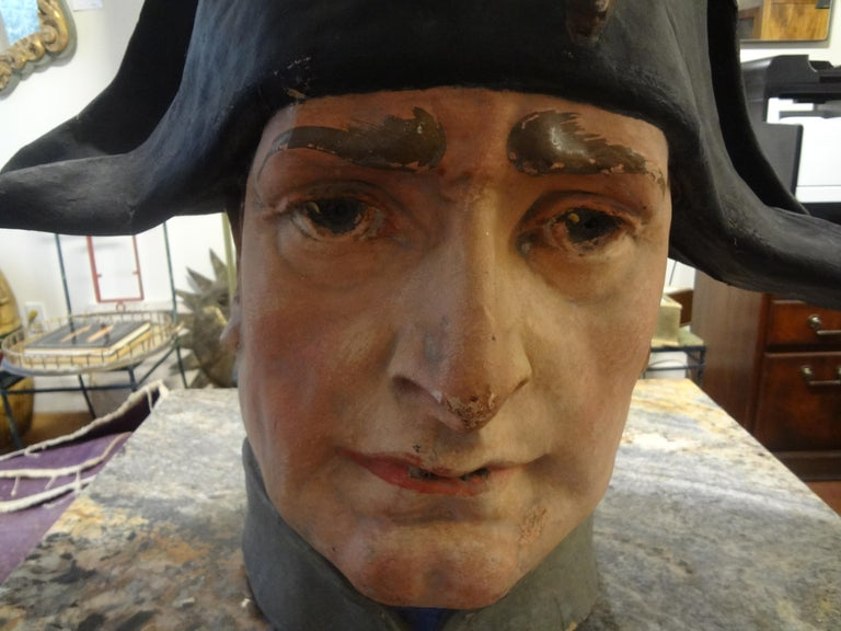 "Stunning large realistic French papier-mâché or paper mache bust of napoleon Bonaparte. This beautiful, colorful handmade sculpture is one of a kind and was executed in the 1920s. Measures: 23.5"" H."