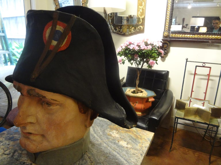 French Papier-Mâché Bust of Napoleon Bonaparte In Good Condition For Sale In Houston, TX