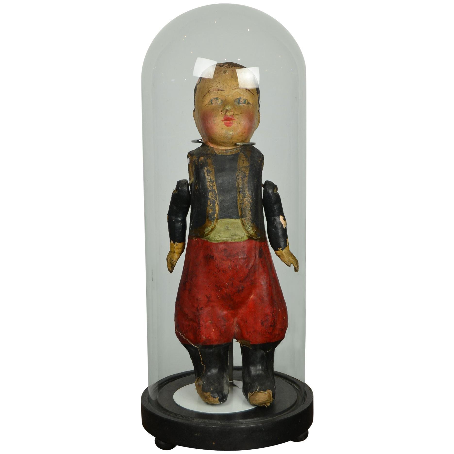 French Papier-Mâché Doll under Antique Glass Dome