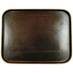 Cushion Shaped Papier Mache Tray-Gold Star Pattern-Napoleon III Period, France