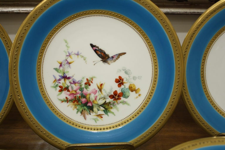 Minton Dessert Service with Butterflies and Flowers and Gold Rims For Sale 2