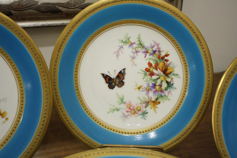 Minton Dessert Service with Butterflies and Flowers and Gold Rims For Sale 3