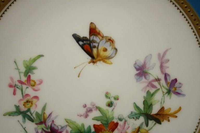 Minton Dessert Service with Butterflies and Flowers and Gold Rims For Sale 4